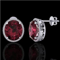 20 CTW Garnet & Micro Pave VS/SI Diamond Certified Halo Earrings 18K White Gold - REF-118M2F - 20273