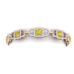 9 CTW Si/I Fancy Yellow And White Diamond Bracelet 18K Rose Gold - REF-750T2X - 40146