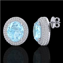 8 CTW Aquamarine & Micro Pave VS/SI Diamond Certified Earrings 18K White Gold - REF-204N9Y - 20215