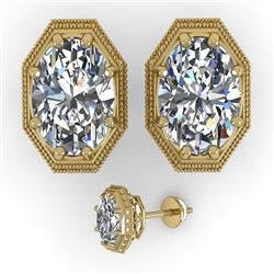 2 CTW VS/SI Oval Cut Diamond Stud Earrings 18K Yellow Gold - REF-499M3F - 35983