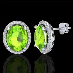 5 CTW Peridot & Micro Pave VS/SI Diamond Certified Earrings Halo 18K White Gold - REF-82X2T - 21060