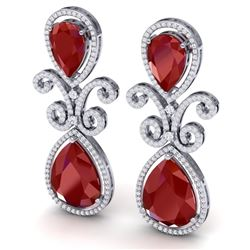 31.6 CTW Royalty Designer Ruby & VS Diamond Earrings 18K White Gold - REF-445Y5N - 39543
