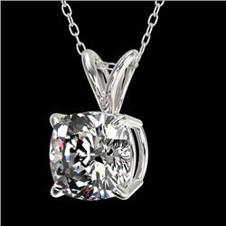 1 CTW Certified VS/SI Quality Cushion Cut Diamond Necklace 10K White Gold - REF-267W8H - 33198