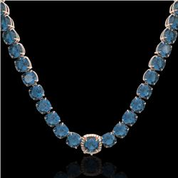 87 CTW London Blue Topaz & VS/SI Diamond Halo Micro Necklace 14K Rose Gold - REF-317Y6N - 23368