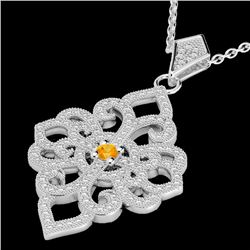 1.40 CTW Citrine & Micro Pave VS/SI Diamond Designer Necklace 14K White Gold - REF-127H3W - 22552