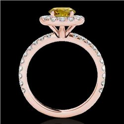 1.75 CTW Certified Si Fancy Intense Yellow Diamond Solitaire Halo Ring 10K Rose Gold - REF-178X2T -