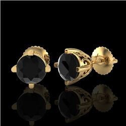 1.5 CTW Fancy Black Diamond Solitaire Art Deco Stud Earrings 18K Yellow Gold - REF-70Y9N - 38068