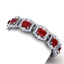 43.87 CTW Royalty Ruby & VS Diamond Bracelet 18K White Gold - REF-836R4K - 38778