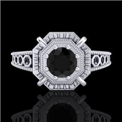 0.53 CTW Fancy Black Diamond Solitaire Engagement Art Deco Ring 18K White Gold - REF-81M8F - 37436