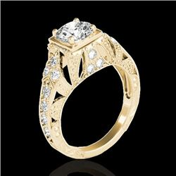 1.25 CTW H-SI/I Certified Diamond Solitaire Antique Ring 10K Yellow Gold - REF-172X8T - 34668