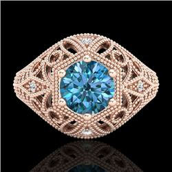 1.07 CTW Fancy Intense Blue Diamond Solitaire Art Deco Ring 18K Rose Gold - REF-218F2M - 37552