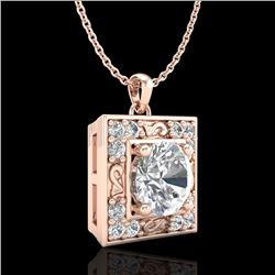 1.02 CTW VS/SI Diamond Solitaire Art Deco Necklace 18K Rose Gold - REF-200F2M - 37272