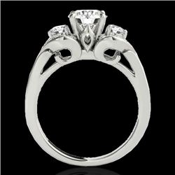 1.7 CTW H-SI/I Certified Diamond 3 Stone Ring 10K White Gold - REF-218T2X - 35340
