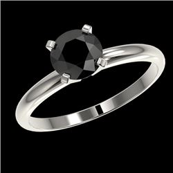 1 CTW Fancy Black VS Diamond Solitaire Engagement Ring 10K White Gold - REF-32X8T - 32887
