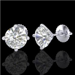 2.5 CTW VS/SI Diamond Solitaire Art Deco Stud Earrings 18K White Gold - REF-668T2X - 37307