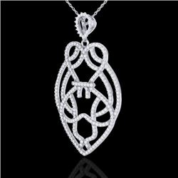 1.80 CTW Micro Pave VS/SI Diamond Heart Necklace Designer 14K White Gold - REF-144T5X - 21259