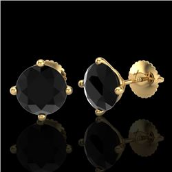 3.01 CTW Fancy Black Diamond Solitaire Art Deco Stud Earrings 18K Yellow Gold - REF-120F2M - 38257