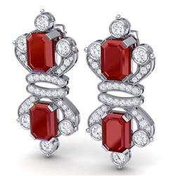 27.36 CTW Royalty Designer Ruby & VS Diamond Earrings 18K White Gold - REF-600F2M - 38763