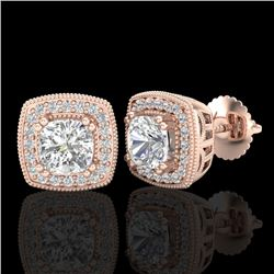 1.25 CTW Cushion Cut VS/SI Diamond Art Deco Stud Earrings 18K Rose Gold - REF-218N2Y - 37035