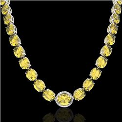 175 CTW Citrine & VS/SI Diamond Halo Micro Solitaire Necklace 14K White Gold - REF-535F5M - 22292