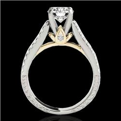 1.61 CTW H-SI/I Certified Diamond Pave Ring Two Tone 10K White & Yellow Gold - REF-180W2H - 35459