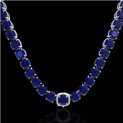 116 CTW Sapphire & VS/SI Diamond Halo Micro Solitaire Necklace 14K White Gold - REF-467Y3N - 23344