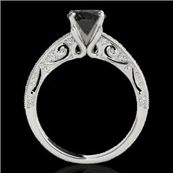 1.25 CTW Certified Vs Black Diamond Solitaire Antique Ring 10K White Gold - REF-56H8W - 34741