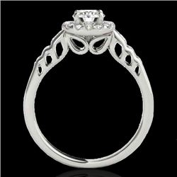 1.55 CTW H-SI/I Certified Diamond Solitaire Halo Ring 10K White Gold - REF-180W2H - 34360