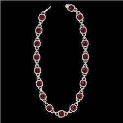 66 CTW Garnet & Micro VS/SI Diamond Certified Eternity Necklace 14K Rose Gold - REF-794X5T - 23044