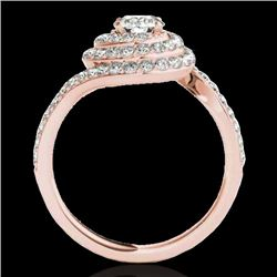 2.11 CTW H-SI/I Certified Diamond Solitaire Halo Ring 10K Rose Gold - REF-240F9M - 34514