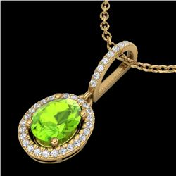 2 CTW Peridot & Micro Pave VS/SI Diamond Necklace Solitaire Halo 18K Yellow Gold - REF-61K8R - 20666