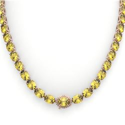 72 CTW Citrine & VS/SI Diamond Tennis Micro Pave Halo Necklace 14K Rose Gold - REF-281R8K - 23456