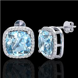 12 CTW Sky Blue Topaz & Pave Halo VS/SI Diamond Earrings 18K White Gold - REF-83N3Y - 23070