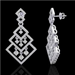 3 CTW Micro Pave VS/SI Diamond Earrings Dangling Designer 14K White Gold - REF-235K5R - 22488