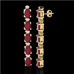 7 CTW Ruby & VS/SI Diamond Certified Tennis Earrings 10K Yellow Gold - REF-64W4H - 21530