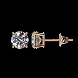 1.11 CTW Certified H-SI/I Quality Diamond Solitaire Stud Earrings 10K Rose Gold - REF-114K5R - 36582