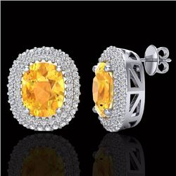 6 CTW Citrine & Micro Pave VS/SI Diamond Certified Halo Earrings 14K White Gold - REF-111K5R - 20118