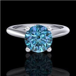 1.36 CTW Fancy Intense Blue Diamond Solitaire Art Deco Ring 18K White Gold - REF-227H3W - 38209