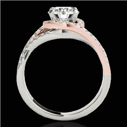 1.5 CTW H-SI/I Certified Diamond Solitaire Halo Ring Two Tone 10K White & Rose Gold - REF-178M2F - 3