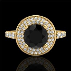1.7 CTW Fancy Black Diamond Solitaire Engagement Art Deco Ring 18K Yellow Gold - REF-143H6W - 38124