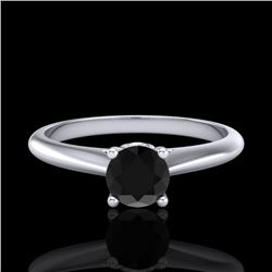 0.40 CTW Fancy Black Diamond Solitaire Engagement Art Deco Ring 18K White Gold - REF-33T6X - 38178