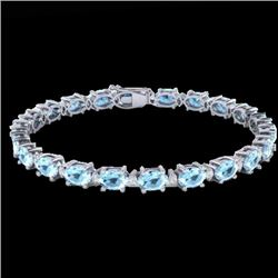 10 CTW Aquamarine & VS/SI Diamond Certified Eternity Bracelet 10K White Gold - REF-102X2T - 21440
