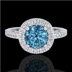 1.55 CTW Fancy Intense Blue Diamond Solitaire Art Deco Ring 18K White Gold - REF-178Y2N - 37985