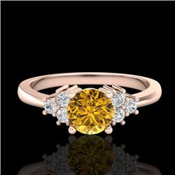 0.75 CTW Intense Fancy Yellow Diamond Engagement Classic Ring 18K Rose Gold - REF-101H8W - 37589