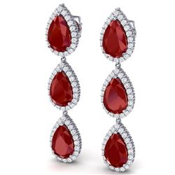 27.06 CTW Royalty Designer Ruby & VS Diamond Earrings 18K White Gold - REF-400W2H - 38844