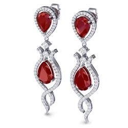 16.57 CTW Royalty Designer Ruby & VS Diamond Earrings 18K White Gold - REF-345R5K - 39513