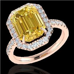 4.50 CTW Citrine And Micro Pave VS/SI Diamond Certified Halo Ring 14K Rose Gold - REF-49X8T - 21422