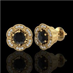 1.51 CTW Fancy Black Diamond Solitaire Art Deco Stud Earrings 18K Yellow Gold - REF-89K3R - 37963