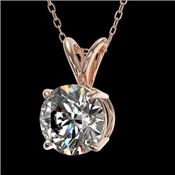 1.29 CTW Certified H-SI/I Quality Diamond Solitaire Necklace 10K Rose Gold - REF-175W5H - 36780