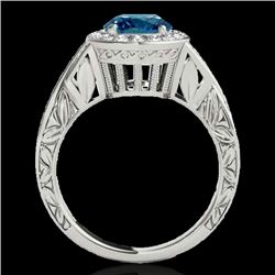 1.75 CTW SI Certified Fancy Blue Diamond Solitaire Halo Ring 10K White Gold - REF-263Y6N - 34527